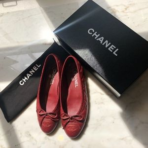 Chanel Quilted Cap Toe Ballet Slippers Red 37.5